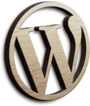 Wordpress Logo in Holzoptik
